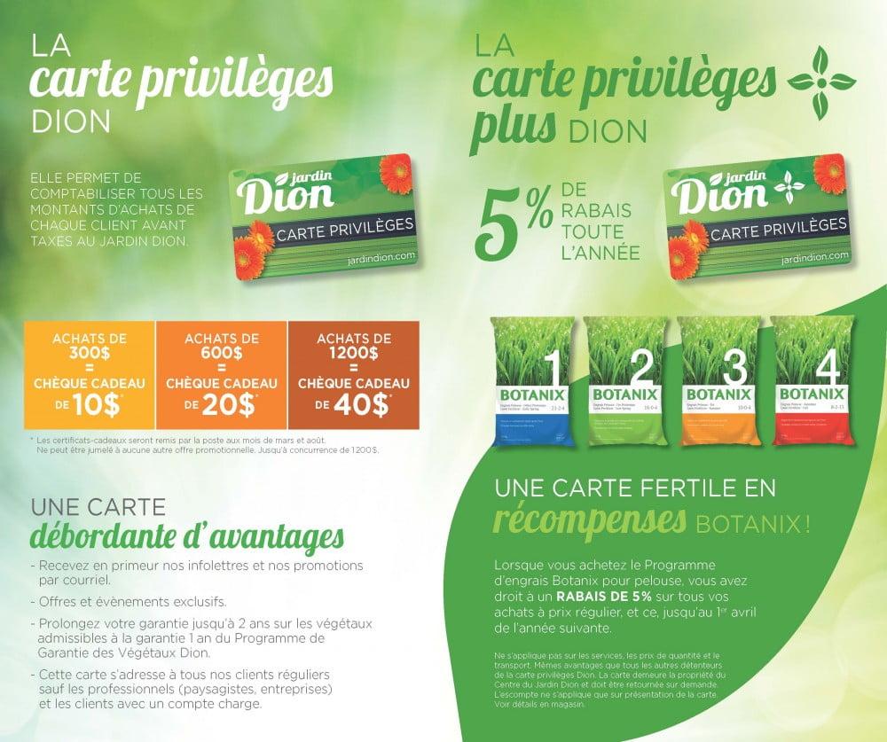 Cartes privilège Jardin dion