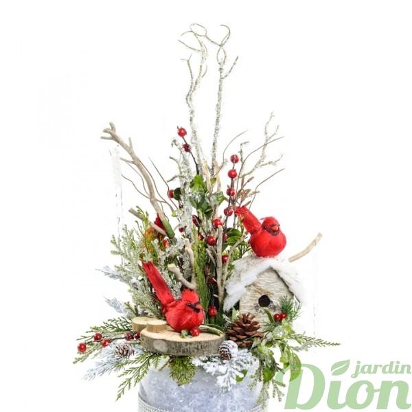 FAN-0080-couple-de-cardinaux-rondelles-de-bois-branches et baies