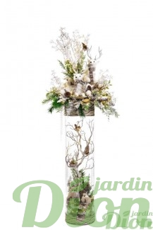 FAN-0083-arrangement de noel-nature-vase de verre-lumineux-foret-artificiel
