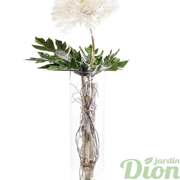 FAN- 0084-fleur-blanche-vase de verre-lumineux-noel-artificiel