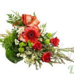 Bouquet de Noël avec roses rouges, gerbera et ruban