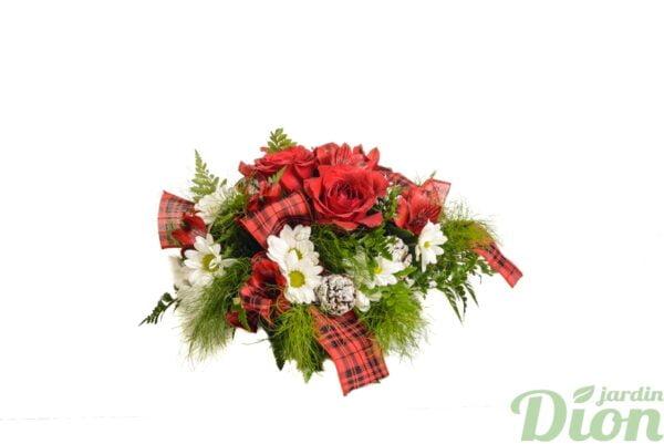 fan-0078-bouquet-noel-roses rouges-marguerites blanches-verdure-ruban-rouge
