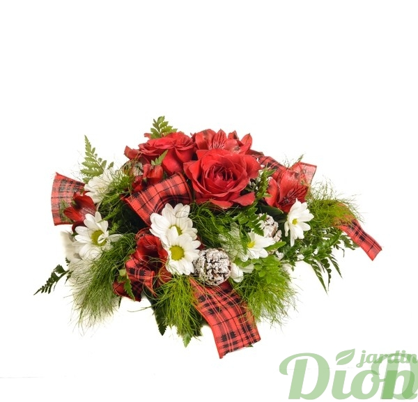 fan-0078-bouquet-noel-roses rouges-marguerites blanches-verdure-ruban-rouge