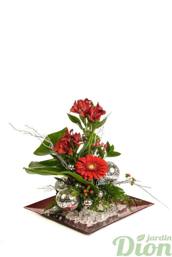 fan-0090-gerbera rouge-noel-arrangement-feuillage