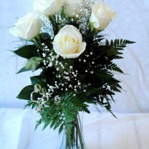fb-0961-caprice avec vase-6 roses-couleur-bouquet-vase-st-valentin-amour