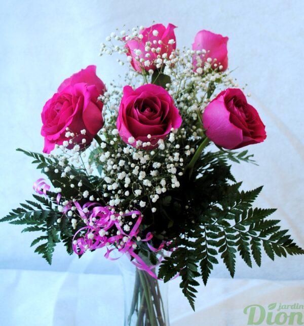 fb-0965-étincelle avec vase-6 roses-couleurs-bouquet-st-valentin-amour-vase