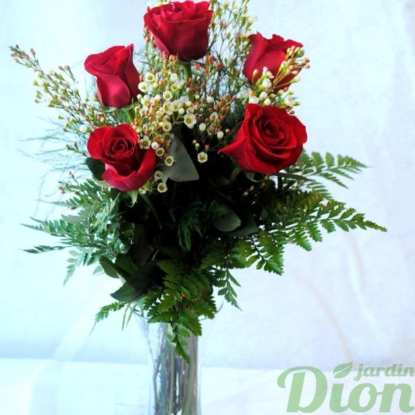 fb-0972-flamme avec vase-st-valentin-roses-bouquet-amour-rouge-vase