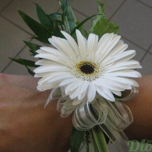 FM-1010-fleur de gerbera-blanc-bracelet-mariage