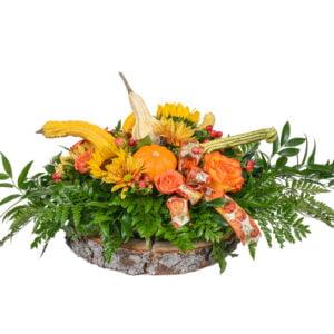 Arrangement de courges et de fleurs d'automne
