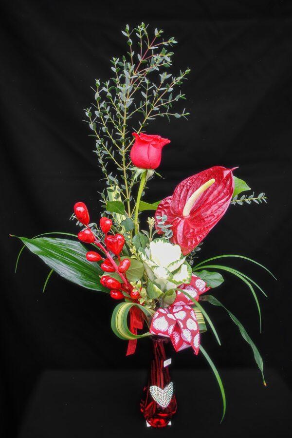Coeur dimantée 49.99 avec vase