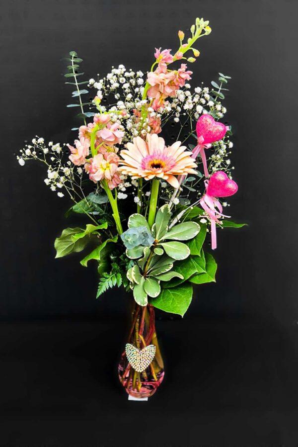 Douce gerbera avec vase 29.99