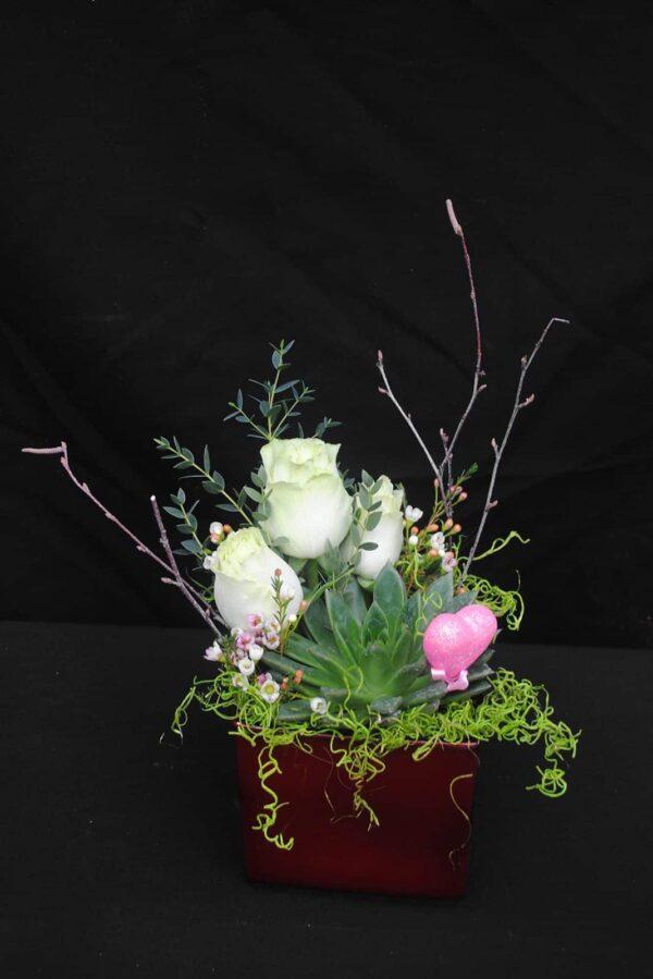 Succulent et roses blanches – 46.99